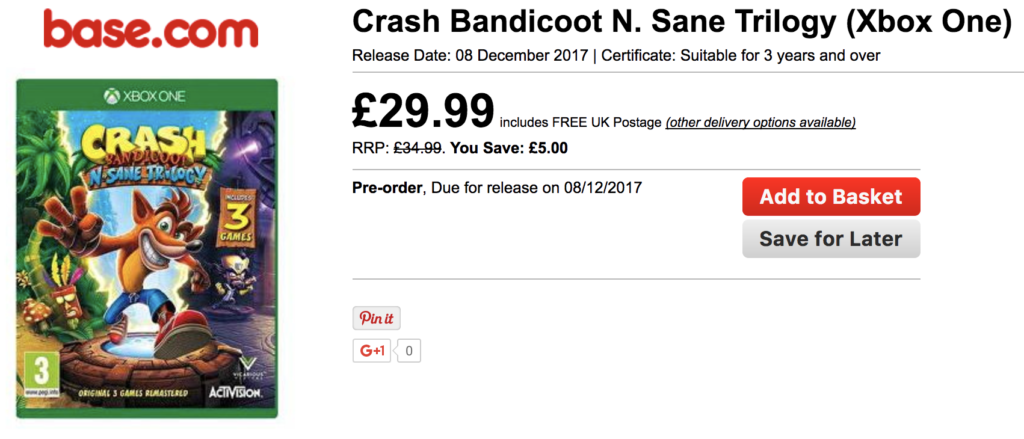 Crash Bandicoot N Sane Trilogy Xbox One version available to pre-order with UK retailer